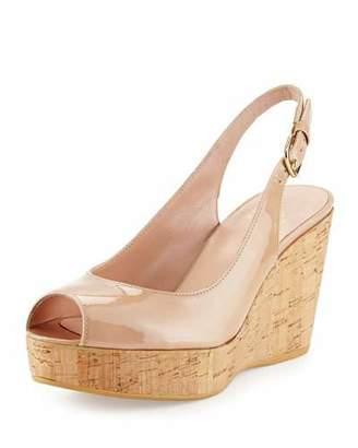 Stuart Weitzman Jean Patent Peep-Toe Wedge Sandal, Adobe $398 thestylecure.com