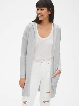 Gap Longline Hooded Open-Front Cardigan Sweater