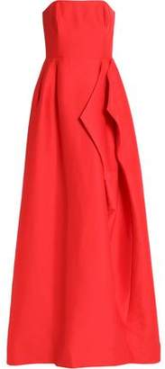 Halston Strapless Draped Cotton And Silk-Blend Gown
