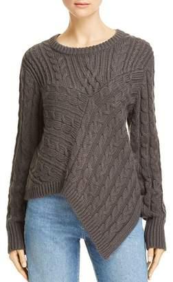 Aqua Asymmetric Cable Knit Sweater - 100% Exclusive