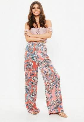 Missguided Printed Wide Leg Trousers