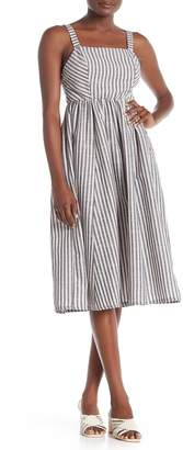 GOOD LUCK GEM Woven Stripe Midi Dress
