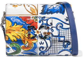 Dolce & Gabbana Millennials Embellished Printed-leather Shoulder Bag - Royal blue