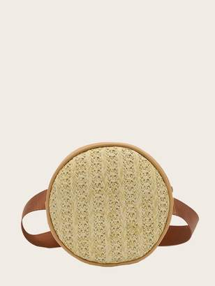 Shein Round Shaped Woven Bum Bag