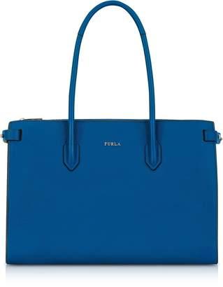 Furla Peacock Blue Leather E/w Pin Medium Tote Bag
