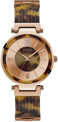 GUESS Women's Tortoise-Look Resin Half-Bangle Bracelet Watch 36.5mm