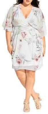 City Chic Plus Day Dream Floral-Print Wrap Dress