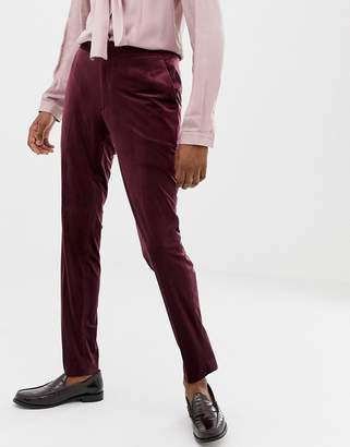 Asos EDITION skinny suit pants in burgundy velvet