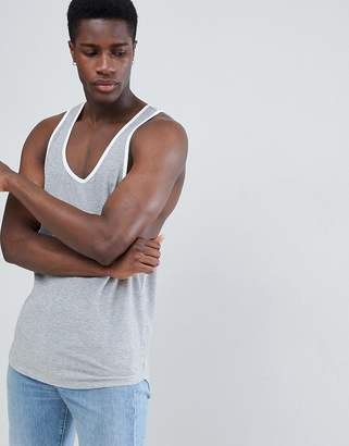 Asos DESIGN tank with extreme racer back in waffle in gray