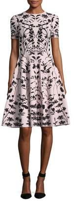 Alexander McQueen Short-Sleeve Botanical Knit Dress