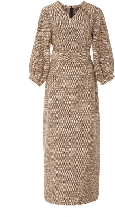 Bouguessa Tweed Puffed Sleeves Dress