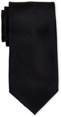 Ike Behar Ike By Solid Black Textured Silk Tie