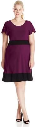 Star Vixen Women's Plus-Size Short Sleeve Colorblock Skater Dress, Purple/Black