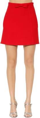 Miu Miu Wool Crepe A-Line Skirt W/ Bow
