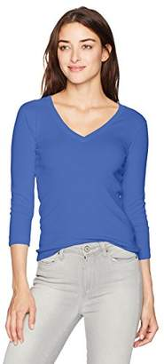 Three Dots Women's Heritage Rib 3/4 Slv Deep V-Neck