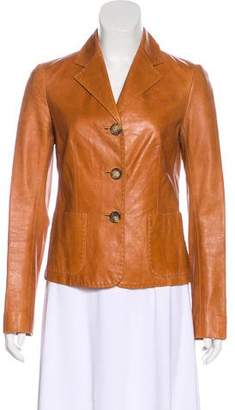 Celine Leather Notch-Lapel Jacket
