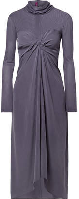 Sies Marjan - Frances Twist-front Washed-silk And Tulle Turtleneck Midi Dress - Purple