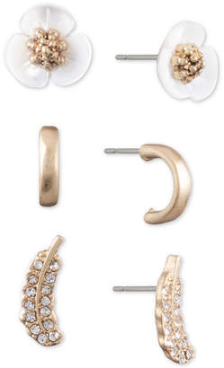 lonna & lilly Gold-Tone 3-Pc. Set Crystal & Imitation Mother-of-Pearl Stud Earrings