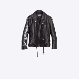 Balenciaga Soft calfskin graffiti logo biker jacket