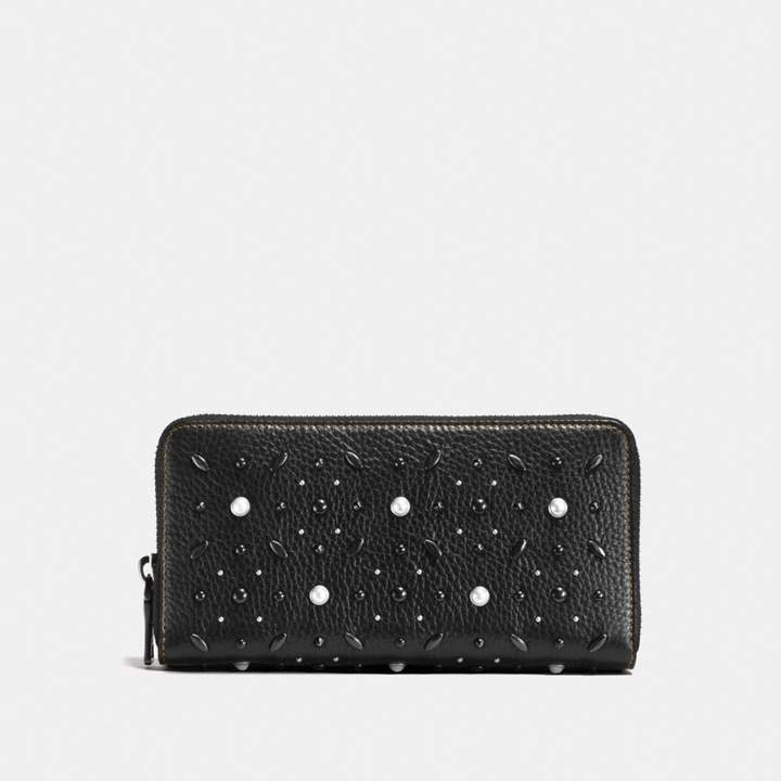 Coach New YorkCoach Accordion Zip Wallet With Prairie Rivets - BLACK COPPER/BLACK - STYLE