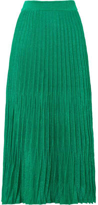 Maje Pleated Metallic Knitted Midi Skirt - Green