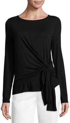 WORTHINGTON Worthington Womens Draped Neck Long Sleeve Knit Blouse
