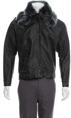 Maison Margiela Fur-Trimmed Leather Jacket