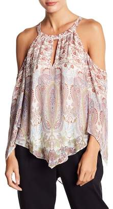 BCBGMAXAZRIA Printed Cold Shoulder Handkerchief Blouse