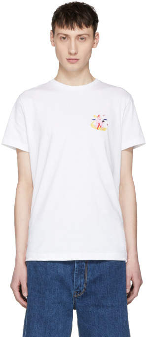 Carne Bollente White pied à Traire Embroidered T-shirt