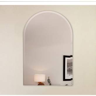 """Fab Glass and Mirror 18x30"""" Arch Frameless Mirror, 1"""" Beveled Edge with Hooks"""