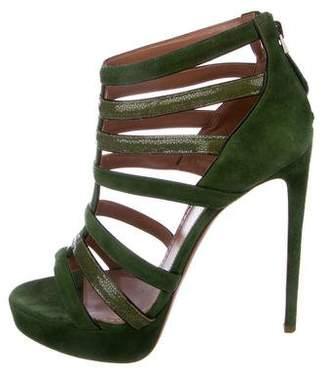 Alaia Stingray & Suede Cage Sandals