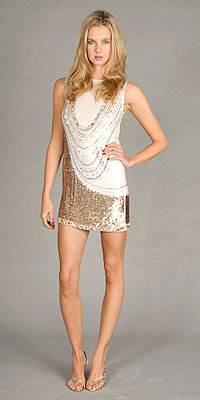 Ivory Sequin Tunic Dresses by Nicole Miller