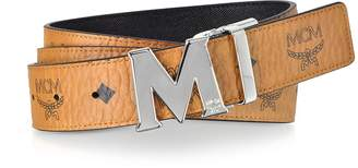 MCM Cognac Visetos Claus M Reversible Belt w/Signature Buckle
