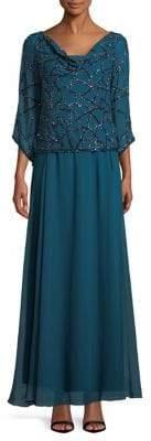 J Kara Cowl Neck Geobead Gown