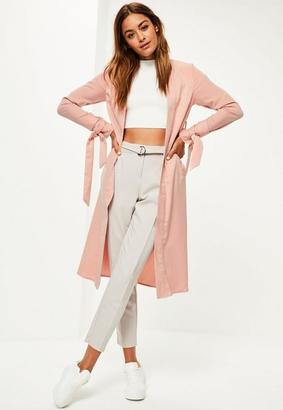Pink Tie Cuff Duster Coat $77 thestylecure.com