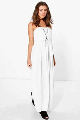 boohoo Petite Rhiannon Shirred Jersey Maxi Dress