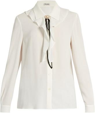 MIU MIU Ruffle-trimmed embellished crepe blouse