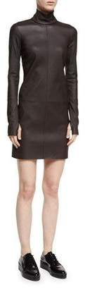 Helmut Lang Turtleneck Long-Sleeve Paneled Leather Dress