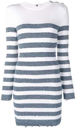 Balmain horizontal stripes knitted dress