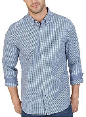 Nautica Men's Standard Long Sleeve Mini Tattersal Button Down Shirt