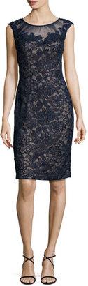 La Femme Cap-Sleeve Beaded Lace Sheath Dress $498 thestylecure.com
