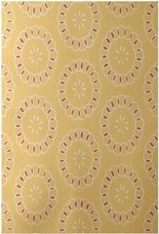 Ebern Designs Alexis Print Flatweave Yellow/Coral Area Rug Ebern Designs