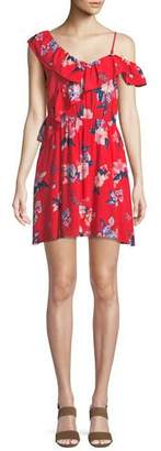 Cupcakes And Cashmere Cordetta Asymmetric Ruffled Floral-Print Dress