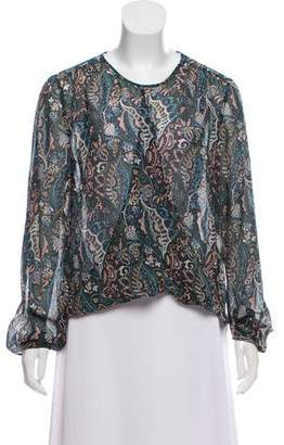 Veronica Beard Silk Long Sleeve Top