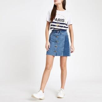 62581e8448 River Island Womens Mid Blue button front denim mini skirt