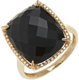 Effy 14K Yellow Gold Diamond and 9.95Ct. Onyx Ring