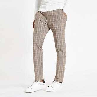 River Island Mens Light brown check skinny fit trousers