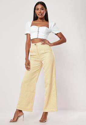 9a5df2a95e66 Missguided Petite Yellow High Waisted Gingham Print Wide Leg Trousers,  Yellow