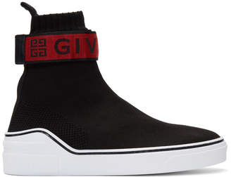 Givenchy Black and Red George V Sock High-Top Sneakers