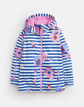 97456820c Joules Mid Blue Floral Raindance Waterproof Rubber Coat 3-12 Yr Size  11Yr-12Yr